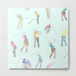 Watercolor Golfers // Azure Metal Print