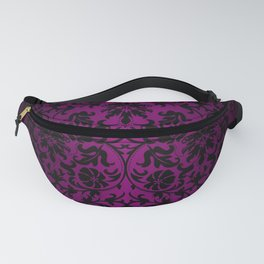 Black and Pinkish Purple Floral Damask Fanny Pack