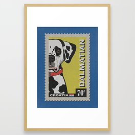 Dalmatian Art Poster Postage Stamp Series by Artist A.Ramos.Designed in Bold Colors. Framed Art Print