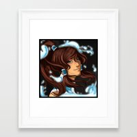 the legend of korra Framed Art Prints featuring Korra by BubbleJuiceBox