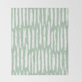 Vertical Dash Stripes White on Pastel Cactus Green Throw Blanket