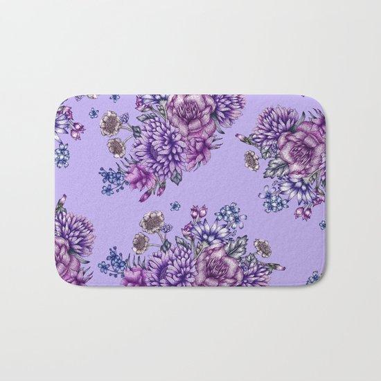 Vintage Purple Florals Bath Mat