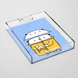 Opi y Kipi en la lluvia Acrylic Tray