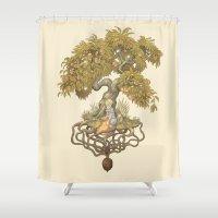 roald dahl Shower Curtains featuring Orchard N0. 01 : Something Wonderful by Skyler Punnett