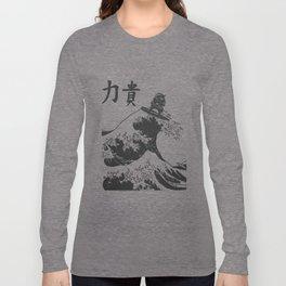 Samurai Surfing The Great Wave off Kanagawa Long Sleeve T-shirt