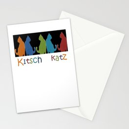 Kitsch Cats Silhouette Cat Collage Pattern on Black  Stationery Cards