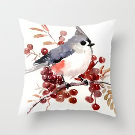 Titmouse and Berries, red fall colors, birds and flowers vintage style east coast Throw Pillow