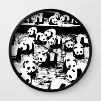 animal crew Wall Clocks featuring Crew by Panda Cool