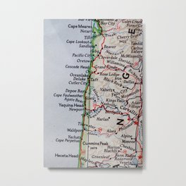 Vintage Oregon Coast Map #traveller #wanderlust #Pacific Metal Print