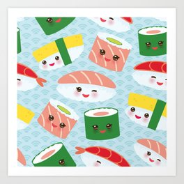 pattern Kawaii funny sushi rolls set with pink cheeks and big eyes, emoji Art Print