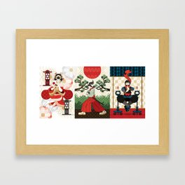 Oiran and Andon・Samurai sword and pine and Japanese flag・Ninja and candlesticks(remake) Framed Art Print
