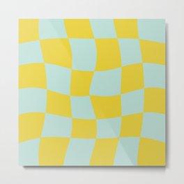 Retro Wavy Checker - Chartreuse + Robin's Egg Blue Metal Print