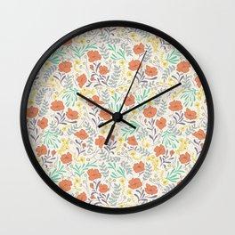 Colorful Peonies Wall Clock