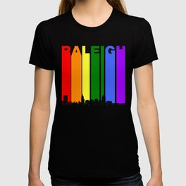 Raleigh North Carolina Gay Pride Rainbow Skyline T-shirt