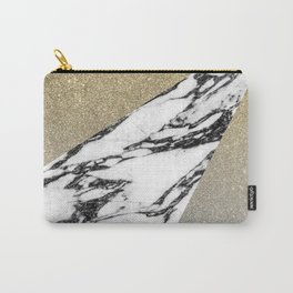 Silver Gold Glitter and Marble Geometric Pattern Carry-All Pouch