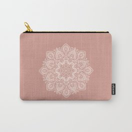 Flower Mandala in Peach and Powder Pink Carry-All Pouch