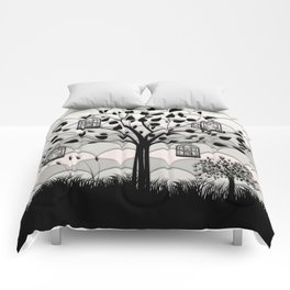 Paper landscape B&W Comforters