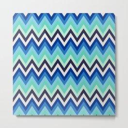 Chevron blue and green Metal Print