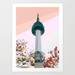 Geometric N Seoul Tower, South Korea Art Print
