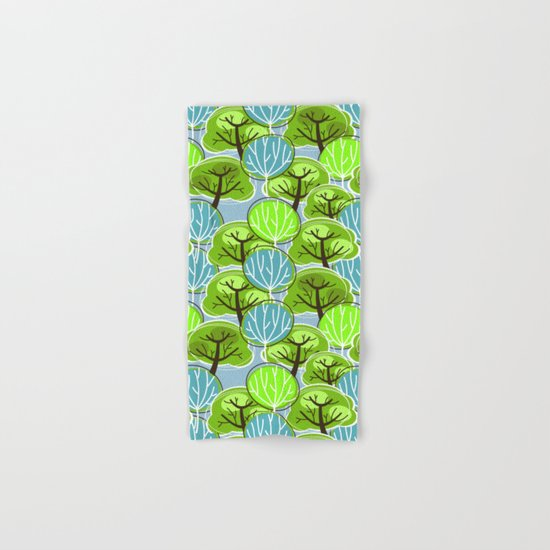 Retro Trees, in blue and green Hand & Bath Towel