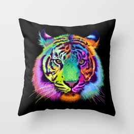 Chroma Tiger Throw Pillow