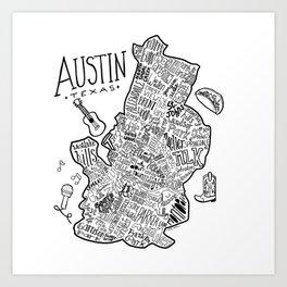 Austin Texas Illustrated Map Kunstdrucke