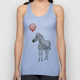 Baby Zebra with Red Balloon Unisex Tank Top