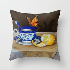 Teacup with Butterfly Throw Pillow