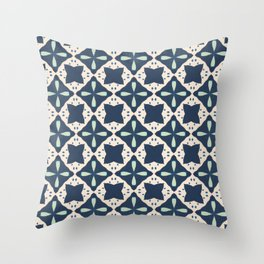 Navy and Mint Cross Tile Pattern Throw Pillow