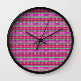 Aztec Tribal Motif Pattern in Pink, Lime and Fuchsia Wall Clock
