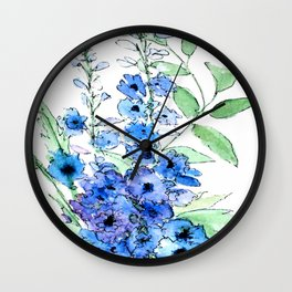Delphinium Illustration Watercolor Painting Wall Clock