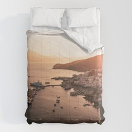 Milos port sunset - Cyclades Greece Comforters