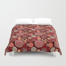 Circle Frenzy - Red Duvet Cover