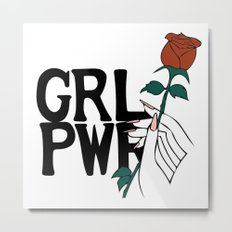 GRL PWR Rose Metal Print
