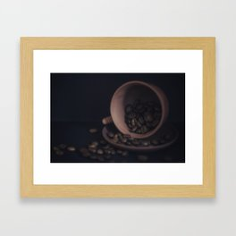 Scattered coffee beans Framed Art Print