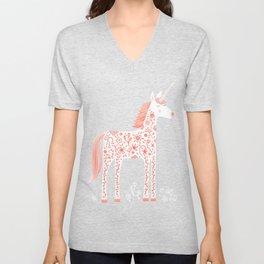 Unicorn with Flowers Unisex V-Neck