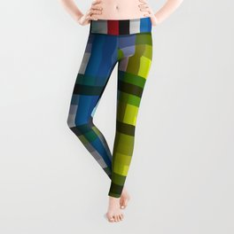 colorful striking retro grid pattern Nis Leggings