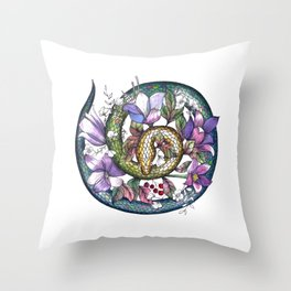 Snake and flowers Throw Pillow