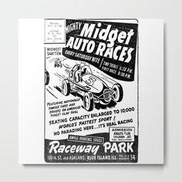 Midget Auto Races, Race poster, vintage poster, bw Metal Print