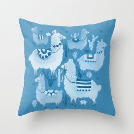 Alpacas and cacti Throw Pillow