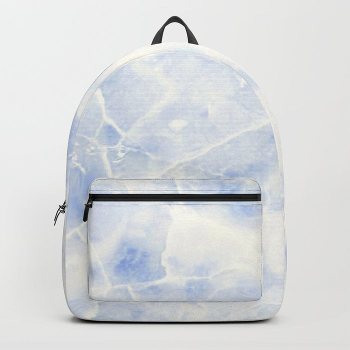 Blue and White Marble Waves Backpack