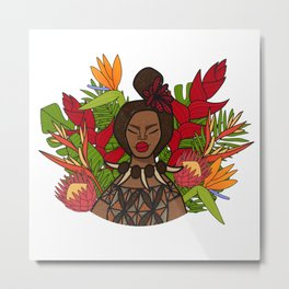 UrbanNesian Floral Samoan Queen Metal Print