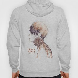 Fashion illustration profile portrait gold black white markers and watercolors Hoody