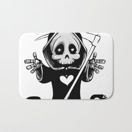 Cute Grim Reaper with Scythe Pointing - Free Hugs Version Bath Mat