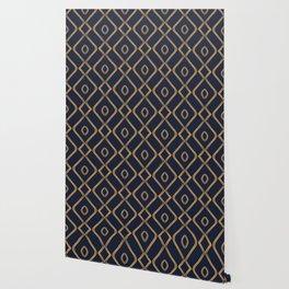 Modern Boho Ogee in Navy & Gold Wallpaper
