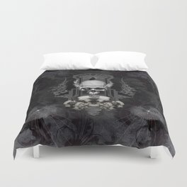 Awesome skull with crow, black and white Duvet Cover