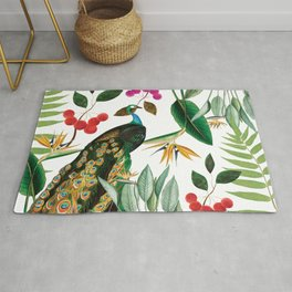 The Classy and Elegant Peacock with flowers and plants Rug