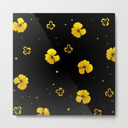 Chinese Floral Pattern - Black Metal Print