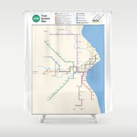 milwaukee Shower Curtains featuring Milwaukee Transit System Map by Carticulate Maps