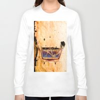 bathroom Long Sleeve T-shirts featuring Monsieur Bone in the bathroom by Ganech joe